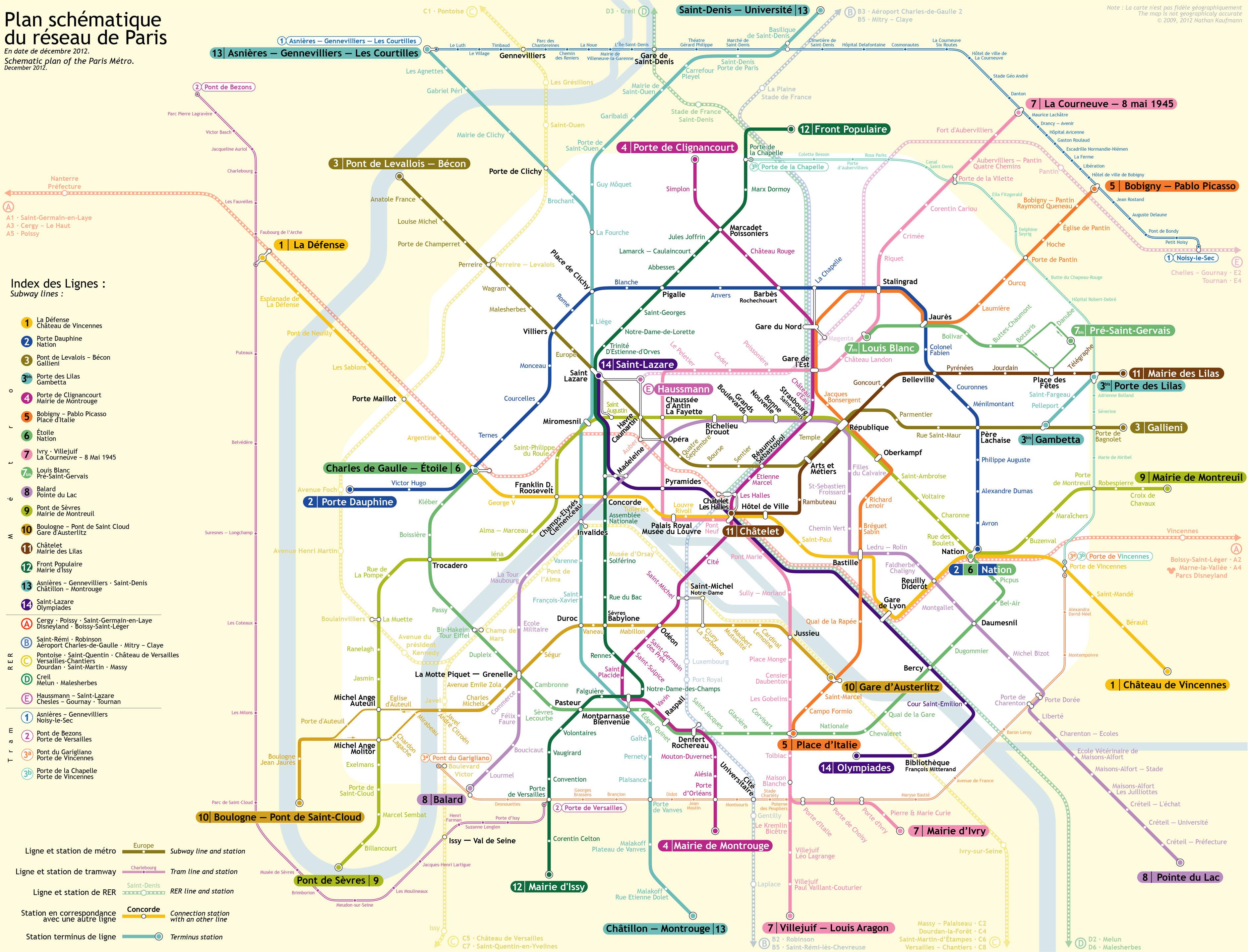 U-Bahnnetz Paris, 2012